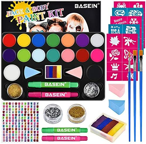 Face Painting Kits for Kids 40 Stencils 16 Water Based Paints Rainbow Cake 196 Gems 2 Hair Chalks product image