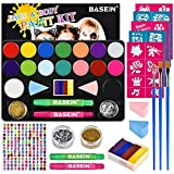 Face Painting Kits for Kids - 40 Stencils, 16 Water Based Paints, Rainbow Cake, 196 Gems, 2 Hair Chalks 3...