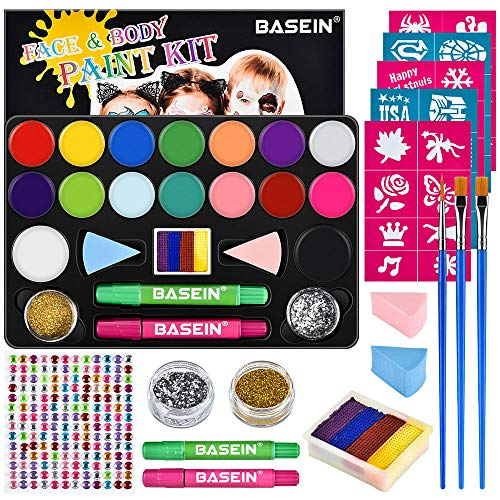 Face Painting Kits for Kids - 40 Stencils, 16 Water Based Paints, Rainbow Cake, 196 Gems, 2 Hair Chalks 3 Brushes 2 Glitter, Professional Party Cosplay Face Paint Kit, Safe & Easy to Get Off