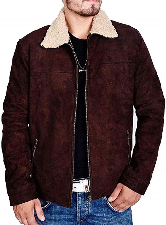 Decent Fashion Men's Suede Leather Jacket Brown