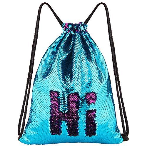 ICOSY Meerjungfrau Pailletten Tasche Kordelzug Pailletten Rucksack Glitter Meerjungfrau Rucksäcke Magie Tanz Taschen für Kinder Erwachsene (35X45cm,See Blau/Rose Rot)