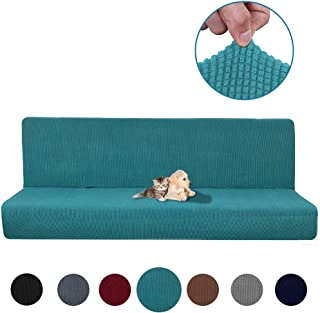 CoutureBridal Stretch Sofa Covers Teal Armless Solid Color One Piece Sofa Slipcover Folding Couch Sofa Shield Spandex Futon Cover with Elastic Bottom for Living Room Dog Cat Pet, Machine Washable