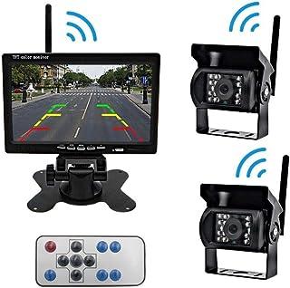 Truck Wireless Backup Cámara y Monitor Kit fácil instalación de cámaras Delanteras y traseras Adecuado para Camiones y Camiones RV Farm Vehicle Bus Escolar