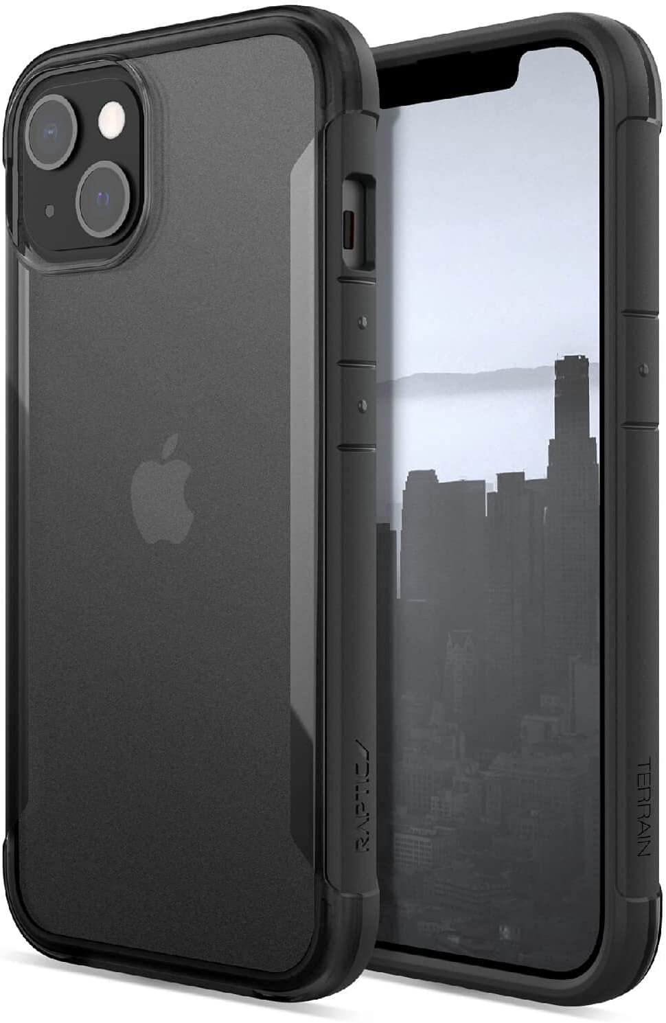 Raptic Terrain Case Compatible with iPhone 13 Case, Made in USA, Clear Polycarbonate Back, 10ft Drop Protection, Fits iPhone 13, Black/Clear