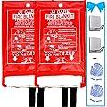 """JJ CARE Fire Blanket for Home 40""""x40"""" + 2 Hooks & 2 Gloves, Fire Suppression Blanket, Emergency Fire Blanket for People, Fire Blanket Kitchen, Emergency Use - White"""