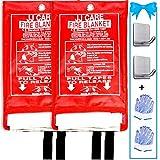 JJ CARE Fire Blanket for Home 40'x40' + 2 Hooks & 2 Gloves, Fire Suppression Blanket, Emergency Fire Blanket for People, Fire Blanket Kitchen, Emergency Use - White