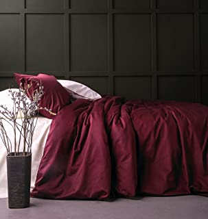 Solid Color Egyptian Cotton Duvet Cover Luxury Bedding Set High Thread Count Long Staple Sateen Weave Silky Soft Breathable Pima Quality Bed Linen (King, Burgundy)