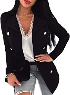 Women's Notched Lapel Outwear Double Breasted Pea Coat Blazer
