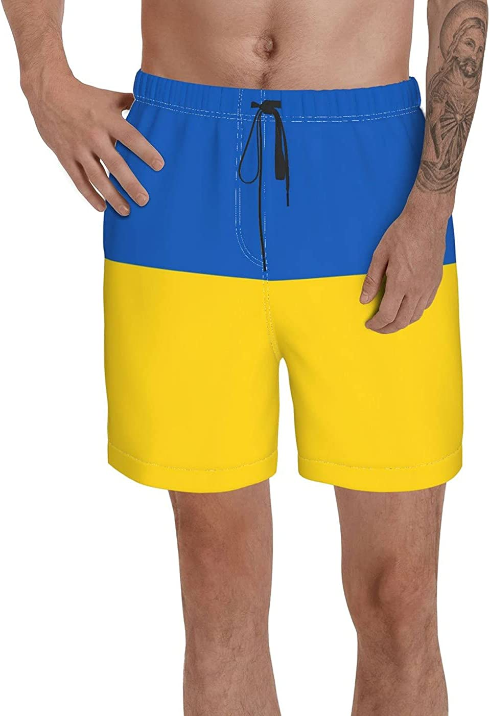 Count Ukraine Flag Men's 3D Printed Funny Summer Quick Dry Swim Short Board Shorts with