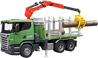 Bruder 03524 SCANIA R-Series Timber Truck with Loading Crane and 3 Trunks