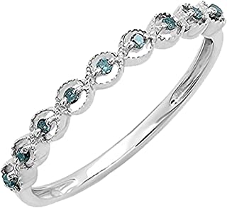 Round Gemstone Ladies Anniversary Wedding Stackable Band Ring, Sterling Silver