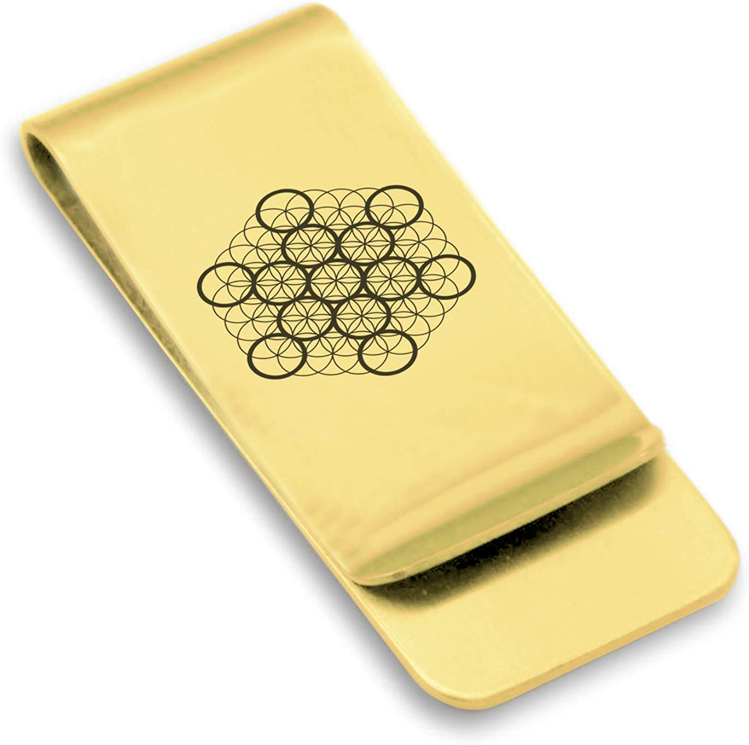 Comfort Zone Studios Stainless Steel Sacred Geometry Classic Slim Money Clip Credit Card Holder