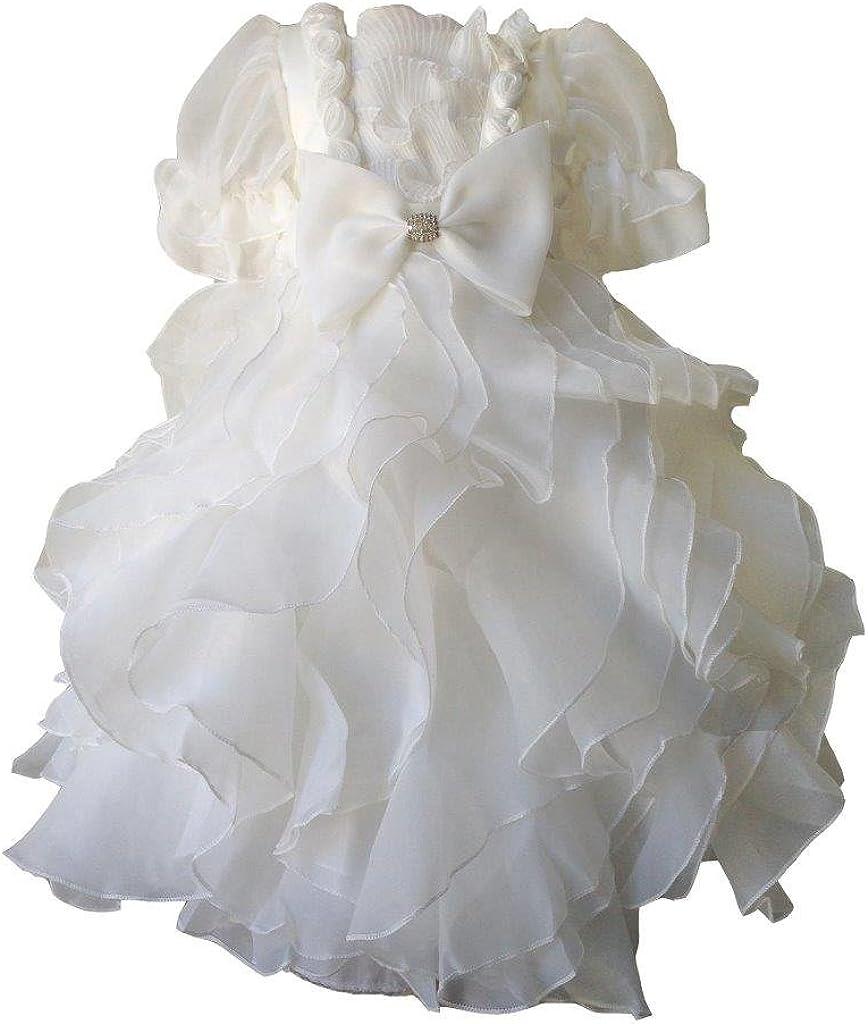 Pink Promise Ivory Short Sleeves Ruffled Organza Wedding Flower Girl Communion Dress