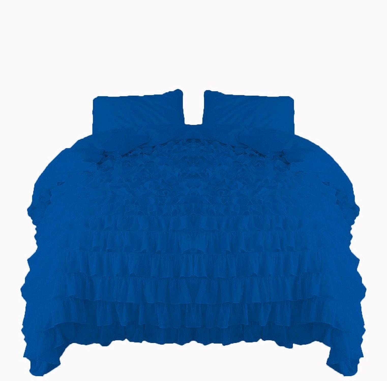 Scalabedding Scala Parure de lit 1pièce Cascade volants Housse de couette 600TC Coton égypcravaten California King Bleu roi