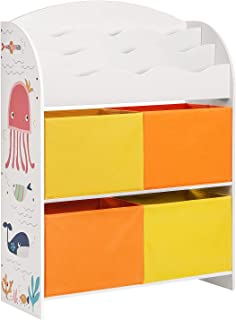 comprar comparacion SONGMICS Estantería de Juguetes, Librería Infantil con 3 Compartimentos, con 4 Cestas de Almacenamiento, para Habitación d...