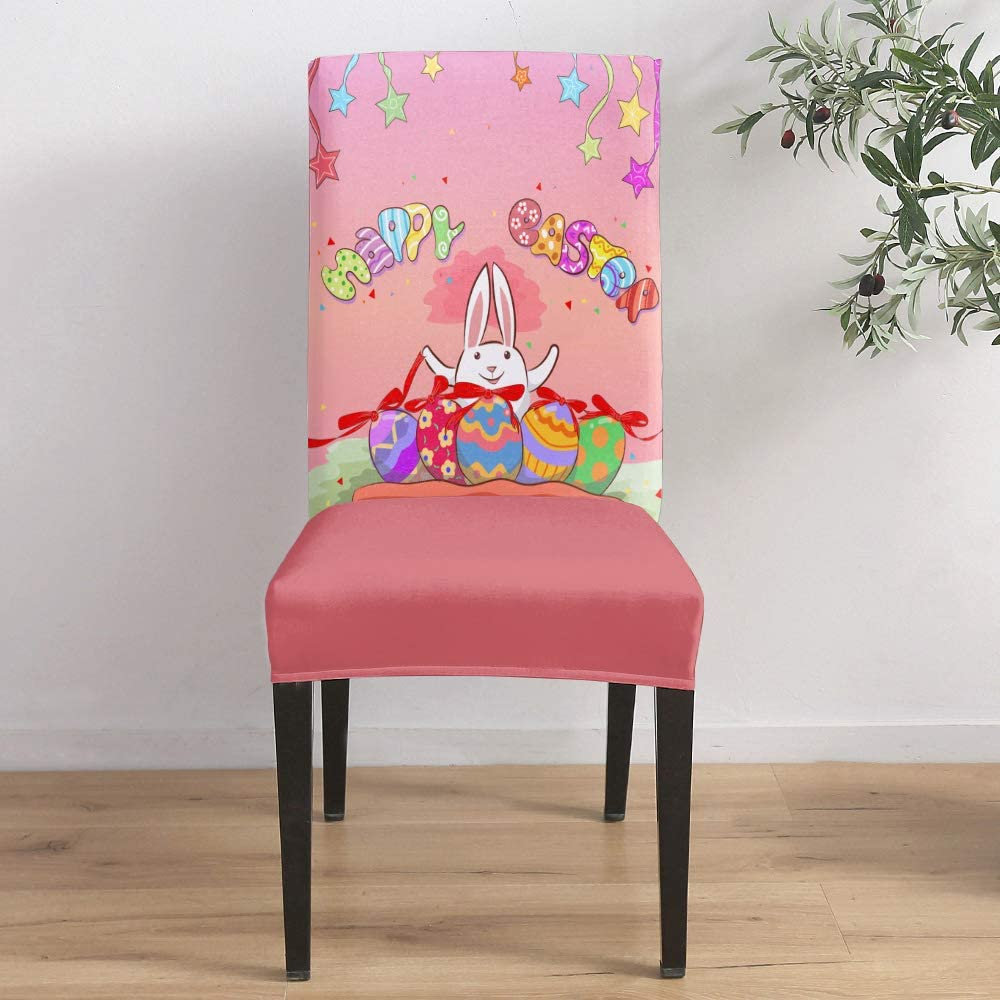Dining Room Stretch Chair Cover Rabbit Easter Slipcover Happy an Super popular specialty store Selling and selling