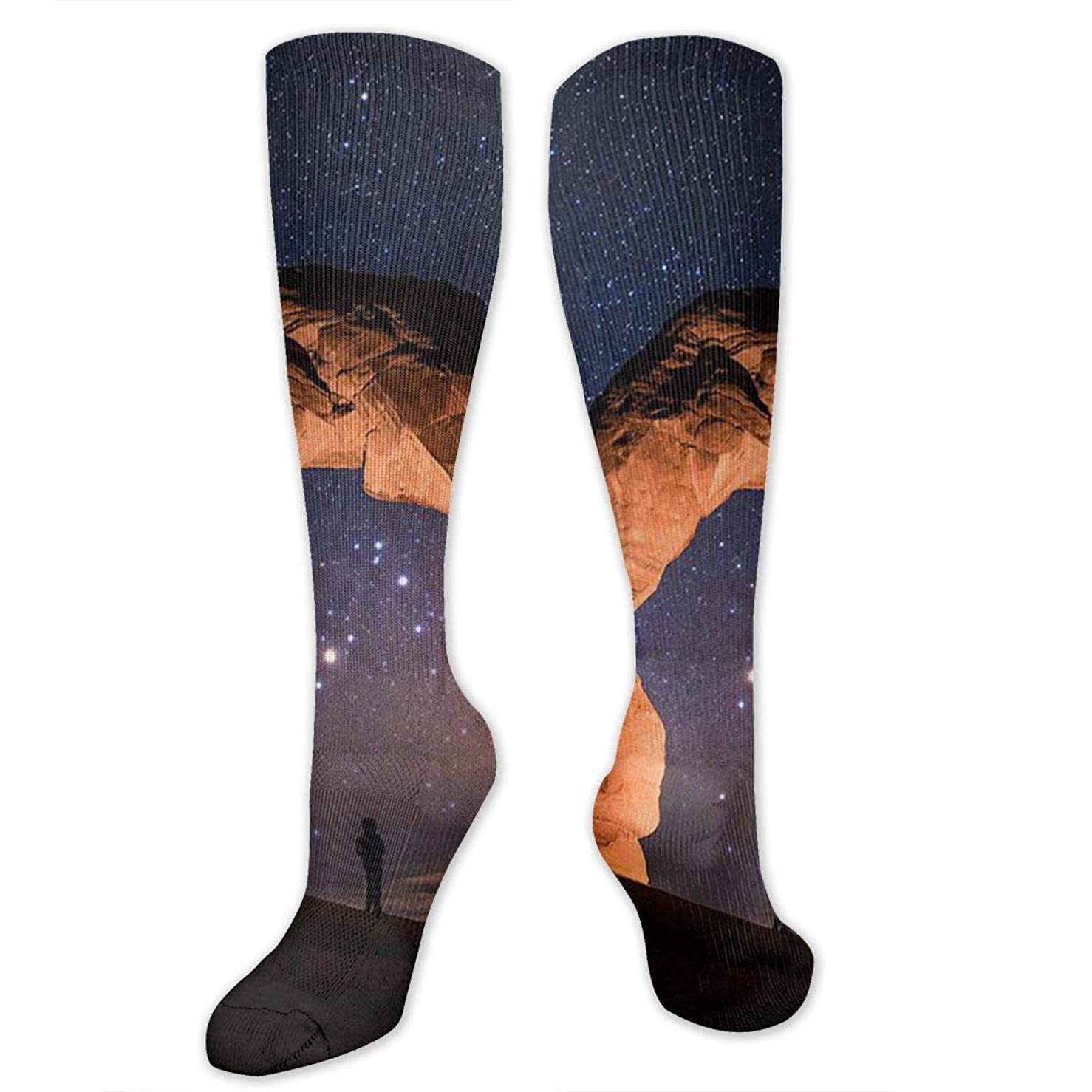 グレートバリアリーフディスコ支配的靴下,ストッキング,野生のジョーカー,実際,秋の本質,冬必須,サマーウェア&RBXAA Women's Winter Cotton Long Tube Socks Knee High Graduated Compression Socks Light Painting Starry Night Arches National Park Socks
