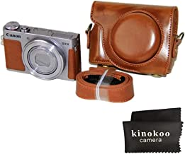 kinokoo Protective Case Cover Leather Camera Case Tailored for Canon G9X G9X Mark2  brown