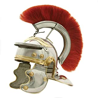 AnNafi Roman Centurion Helmet Armor with Red Plume| Medieval Metal Replica Helm| Soldier Costume