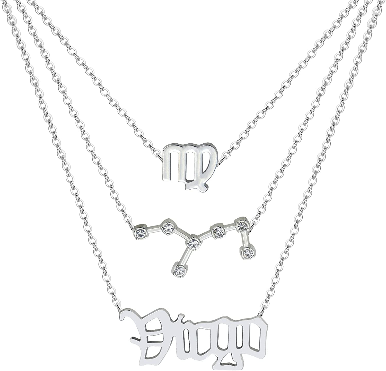 3Pcs Zodiac free Gold Layered Necklaces for 12 Constellation Women Ranking TOP15 R