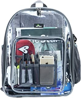Clear Backpack, Heavy Duty See Through Backpack Transparent Large Bookbag for College Work Security Travel Sporting Event (Large-Grey)