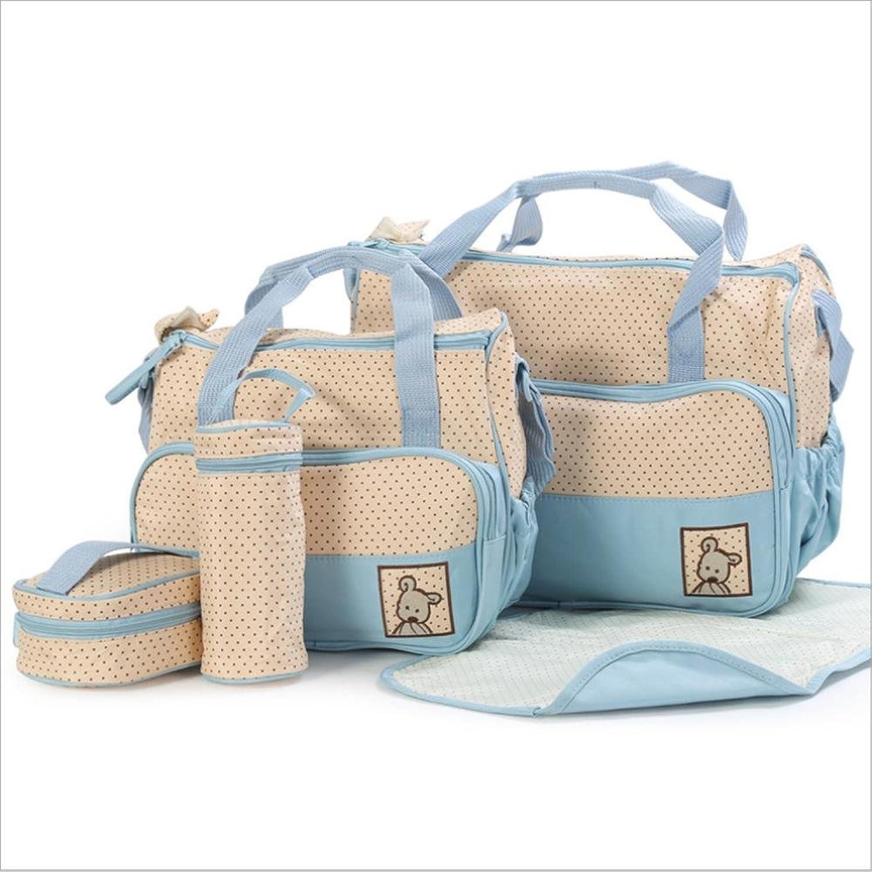 Mummy bag 5 PCs, multifunctional waterproof size mother Mummy bag , days bluee