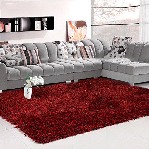 Unbekannt MMM 6 cm Dicke Stretch Seidenteppich Wohnzimmer Couchtisch Decke Schlafzimmer Nachttischdecke Europäischen Einfache Moderne (Farbe : Schwarz und Rot, größe : 140 * 200cm)