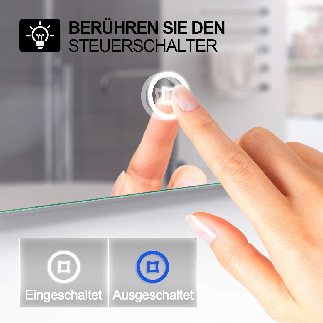 EMKE Espejo de Baño Espejo de baño Espejo LED Espejo de Pared con Interruptor Táctil+Antivaho+Reloj Digital,IP44,57W,Blanco Frío(80x60cm): Amazon.es: Hogar