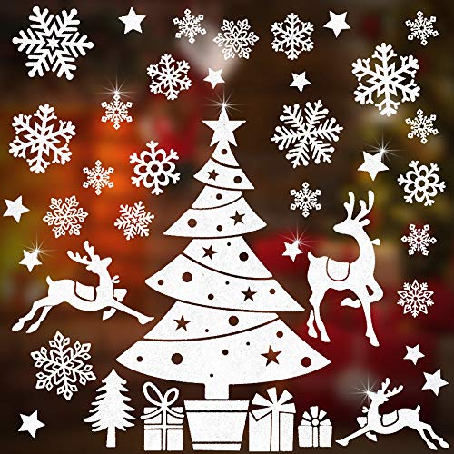 Christmas Window Clings Decal Stickers for Christmas Decorations with Snowflakes Christmas Tree Stars Elk Gifts Designs as Holiday Merry Christmas Winter Wonderland Party Supplies - 3 Sheets Reusable