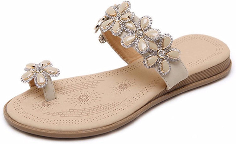 Kyle Walsh Pa Flat Sandal for Women,Bohemian Flowers Rhinestones Summer Toe Ring Slipper shoes Beige