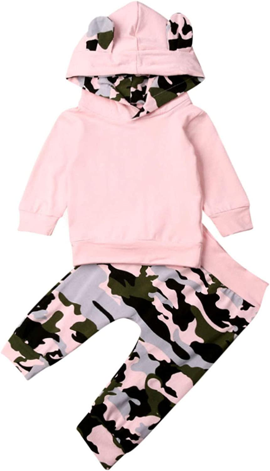 Baby Girls Solid Color Hooded Sweatshirt with Ear Pullover Sweater Camouflage Pant Leggings Tracksuit Outfits