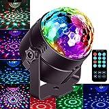 Mini Discokugel Partylicht für Kinder, Auto und Sound Aktiviert RGB LED Discokugel Lampe mit 7 Arten von Discolicht Lichteffekte, 180° Rotierendespiegel Kugel Disco Licht für Weihnachten, Partei