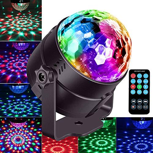 iToncs Discokugel Partylicht für Kinder, Sound Aktiviert RGB Mini LED Discokugel Lampe mit 7 Arten von Discolicht Lichteffekte, 180° Rotierendespiegel Kugel Disco Licht für Weihnachten Party Deko
