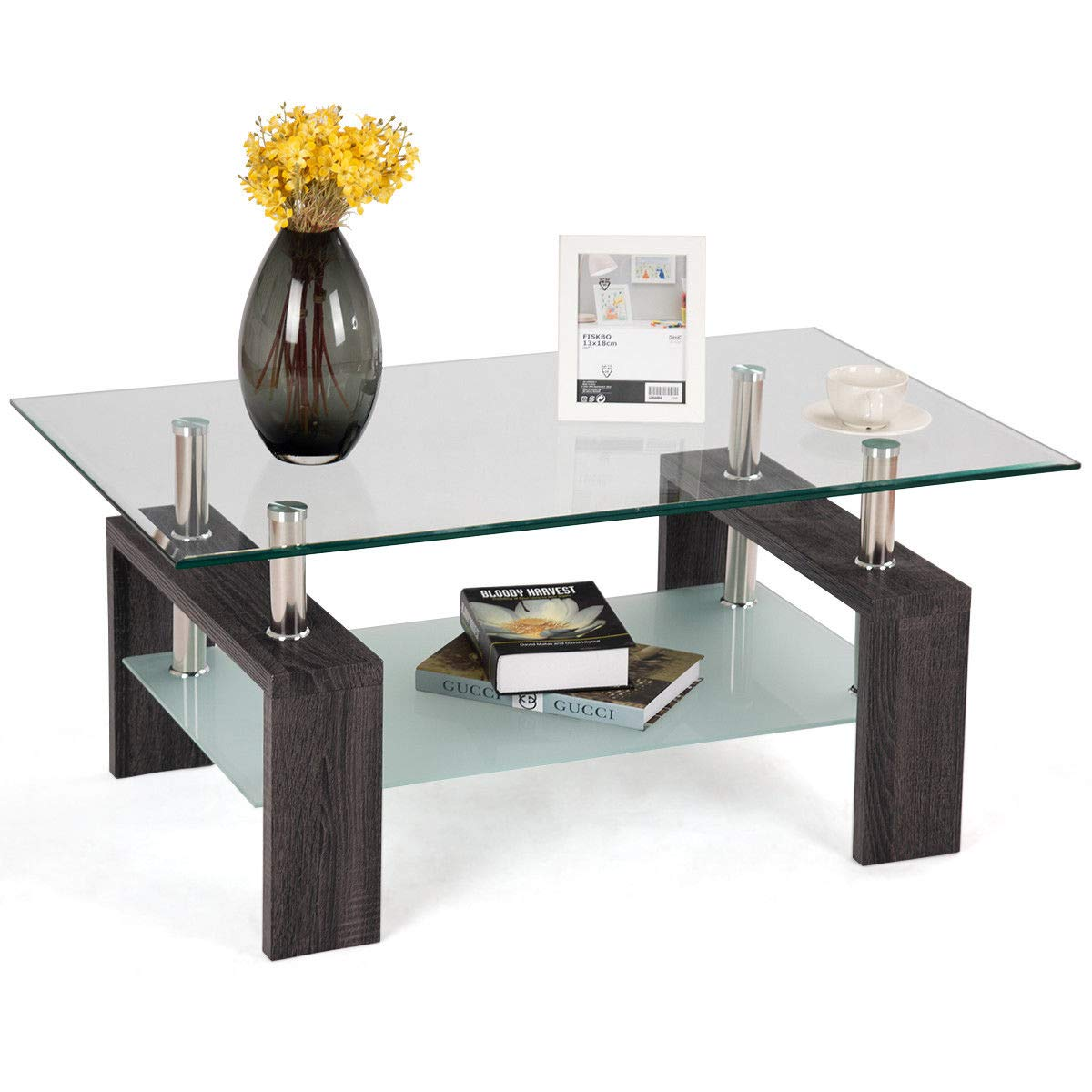 Coffee Black Phoenix Home Parla Rectangular Wood Coffee Table With Glass Top And Bottom Shelf Tables Zuiverlucht Coffee Tables