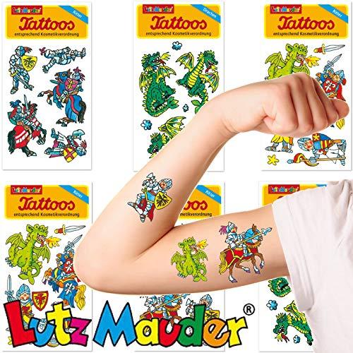 Neu: 6-teiliges Tattoo-Set * Ritter & Drachen * vom Lutz Mauder-Verlag | Kinder Kindertattoo Kindergeburtstag Geburtstag Mitgebsel