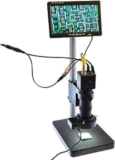 """100X Zoon Lens BNC AV TV Digital Industrial Microscope Camera SET C-Mount Lens & 7"""" AV LCD Monitor & LED Light & Table Stand"""