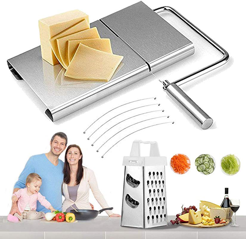 Cheese Slicer Board Wire Stainless Steel Cutter Serving For Hard And Semi Hard Cheese Butter Cake Silver