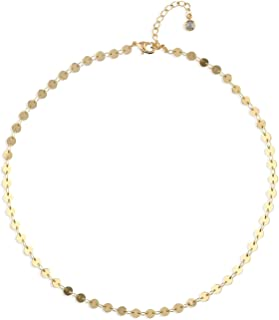 Fettero Dainty Layered Gold Choker Necklace Handmade 14K Gold Fill Hollow Out Heart Tassel Coin Disc Boho Chain Jewelry