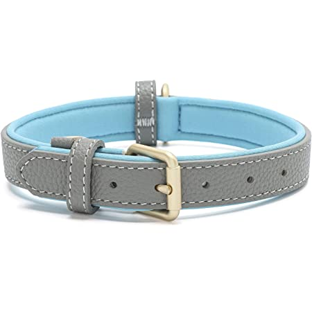 Tanpie Classic Genuine Leather Dog Collar Soft Breathable Waterproof Collars for Large Medium Small Dogs