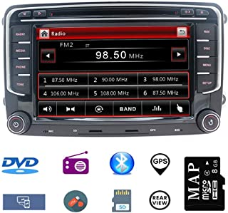 Hotaudio Car Stereo 7 inch 2 Din Autoradio for VW Jetta Golf Tiguan Polo Passat with DVD CD Player GPS Navigation USB SD CANBUS FM AM RDS Bluetooth Steering Wheel Control 720P Video Wince Carplay SWC