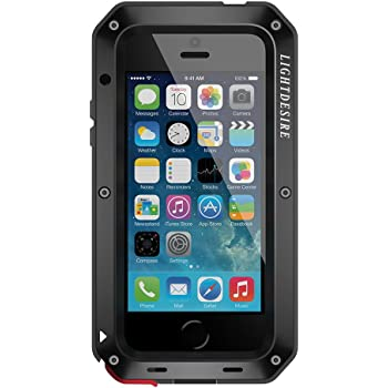 LIGHTDESIRE Case for iPhone SE2, iPhone 7/8 Case, Aluminum Alloy Protective Extreme Water Resistant Shockproof Military Bumper Heavy Duty Cover Shell 4.7 Inch - Black