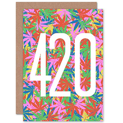 Artery8 Happy 420 Day Weed Birthday Joint Stoner Sealed Greeting Card Plus Envelope Blank Inside