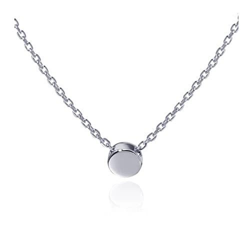 e2e605eda S.Leaf Sterling Silver Tiny Dot Necklace Round Circle Necklace for Women