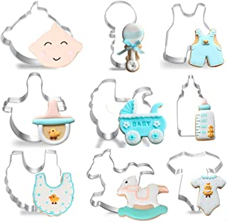 Baby Shower Cookie Cutters Set for Holiday - 9 Piece Stainless Steel Cookie Mold Tools for Onesies, Bib, Rattle, Feeding Bottle, Baby Carriage,Nipple, BB Head,Baby Pants,Rocking Horse