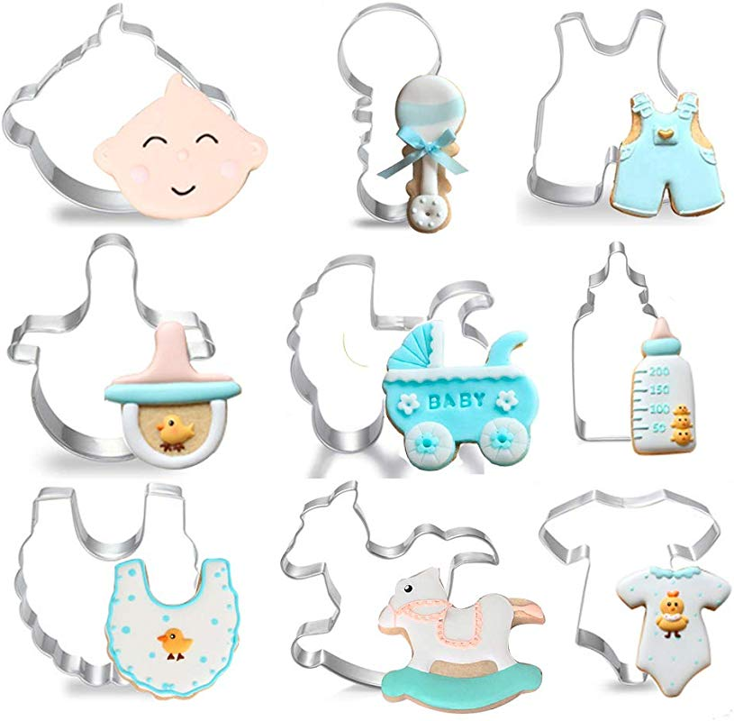 Baby Shower Cookie Cutters Set For Holiday 9 Piece Stainless Steel Cookie Mold Tools For Onesies Bib Rattle Feeding Bottle Baby Carriage Nipple BB Head Baby Pants Rocking Horse