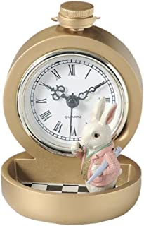 Fancy Table Clock With Storage Tray, Organizer, Alice In Wonderland Motif - Rabbit