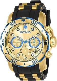 Invicta 17887 Pro Diver reloj de acero inoxidable chapado en iones de oro de 18 quilates con detalles azules