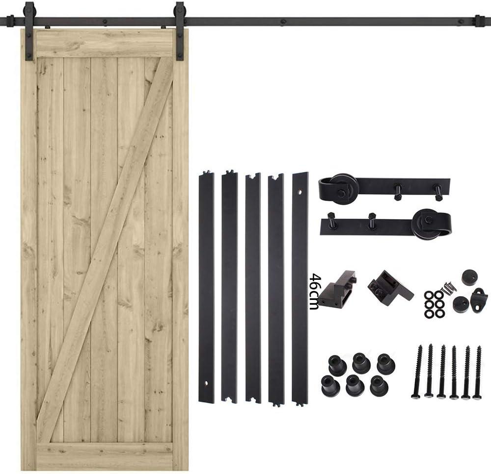 Quincailleri - Kit de riel para puerta corredera, conjunto industrial para puerta colgante de madera, sistema de puerta con ruedas y riel (2 m puerta individual)