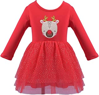 Baby Girls Christmas Deer Tutu Dress Birthday Party Long Sleeve Tulle Princess Dress