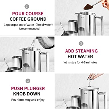 French Press Coffee Maker, 50Oz Double Walled Stainless Steel French Press, 1.5L Coffee/Tea Maker with Extra Filter Screens,